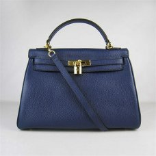Hermes Handbags Kelly 32 CM Dark Blue Lichee Pattern Leather Gold Hardware Bag