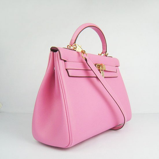 Hermes Handbags Kelly 32 CM Pink Smooth Premium Leather Gold Hardware Bag (with white stitching) - Click Image to Close