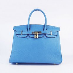 Hermes Handbags Birkin 30 CM Medium Blue Lichee Pattern Bag