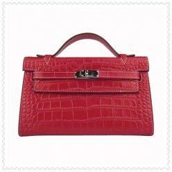 Hermes Handbags Kelly 22CM Red Crocodile Stripe Leather Silver Hardware Bag