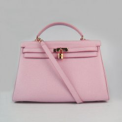 Hermes Handbags Kelly 35 CM Pink Cowskin Leather Gold Hardware Bag