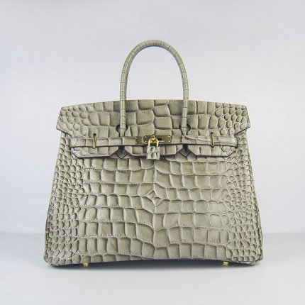 Hermes Handbags Birkin 35 CM Khaki Crocodile Stripe Bag
