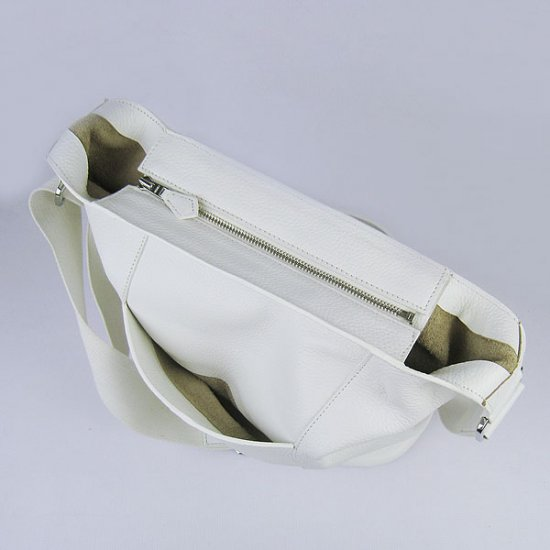 Hermes Handbags Picotin H2801 White Cowskin Leather Silver Hardware Bag - Click Image to Close