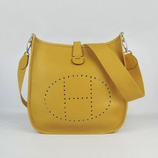 Hermes Handbags Evelyne III Yellow Cowskin Leather Silver Hardware Bag