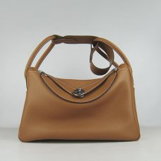 Hermes Handbags Lindy Brown Cowskin Leather Silver Hardware Bag