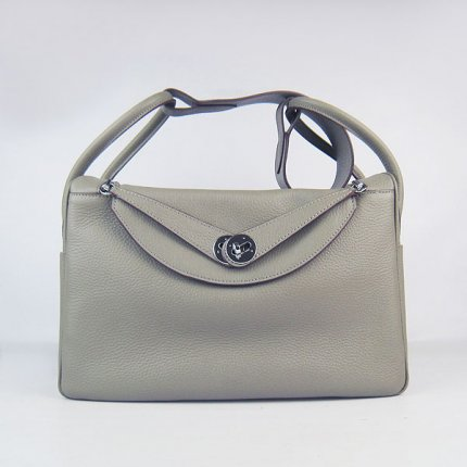 Hermes Handbags Lindy Khaki Cowskin Leather Silver Hardware Bag