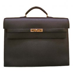 Hermes Kelly Depeches Briefcase Black Calfskin Leather Silver Hardware