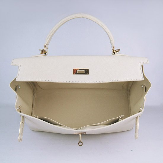 Hermes Handbags Kelly 35 CM Beige Cowskin Leather Gold Hardware Bag - Click Image to Close