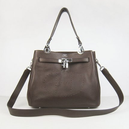 Hermes Handbags Picotin Herpicot Dark brown Cowskin Leather Silver Hardware Bag