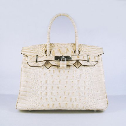 Hermes Handbags Birkin 30 CM Off White Crocodile Scalp Bag