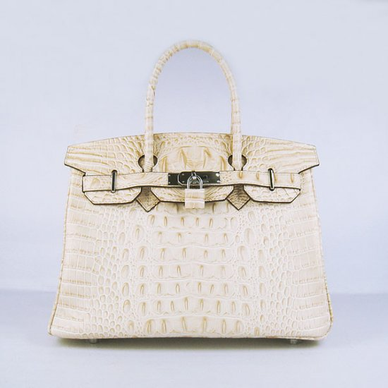 Hermes Handbags Birkin 30 CM Off White Crocodile Scalp Bag - Click Image to Close