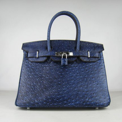 Hermes Handbags Birkin 30 CM Dark Blue Ostrich Stripe Bag