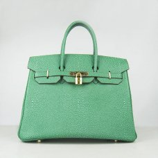 Hermes Handbags Birkin 35CM H6089 Green Pearl Stripe Leather Gold Hardware Bag