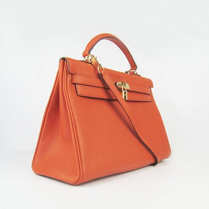 Hermes Handbags Kelly 35 CM Orange Cowskin Leather Gold Hardware Bag