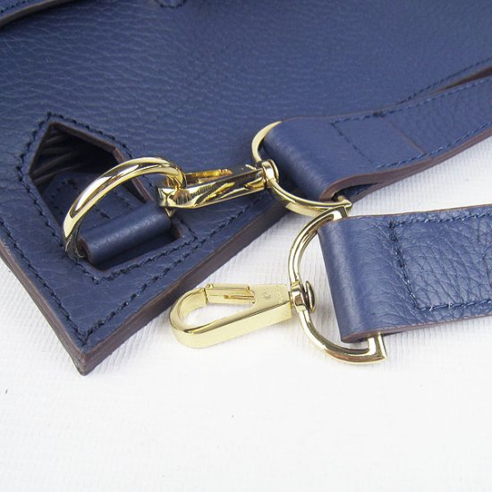 Hermes Handbags Jypsiere Dark Blue Cowskin Leather Gold Hardware Bag - Click Image to Close