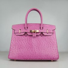 Hermes Handbags Birkin 30 CM Peach Ostrich Stripe Bag