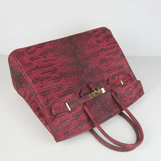 Hermes Handbags Birkin 35CM Red Cabrite Stripe Leather Gold Hardware Bag - Click Image to Close