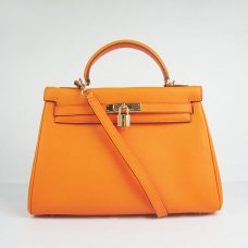 Hermes Handbags Kelly 32 CM Orange Smooth Premium Leather Gold Hardware Bag