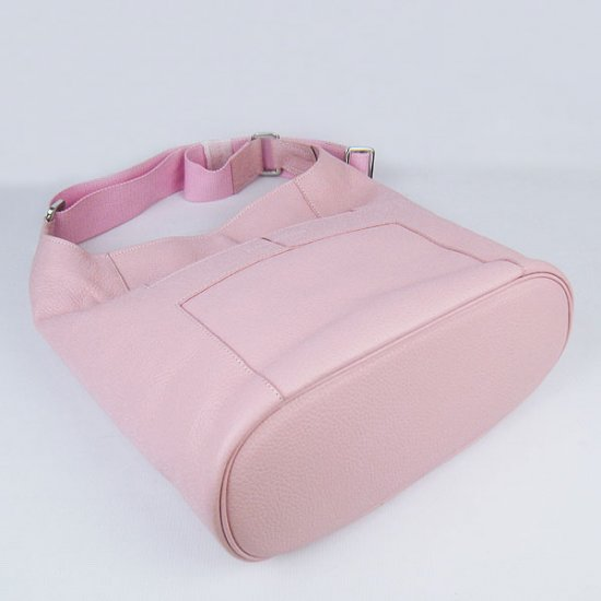 Hermes Handbags Picotin H2801 Pink Cowskin Leather Silver Hardware Bag - Click Image to Close