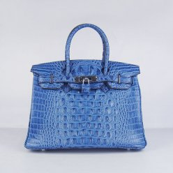 Hermes Handbags Birkin 30 CM Dark Blue Crocodile Scalp Bag