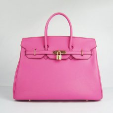 Hermes Handbags Birkin 35 CM Peach Plain Veins Bag