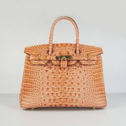 Hermes Handbags Birkin 30 CM Orange Crocodile Scalp Bag