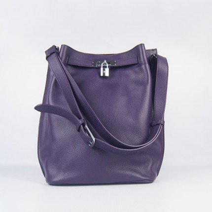 Hermes Handbags Picotin Herpicot Purple Cowskin Leather Silver Hardware Bag