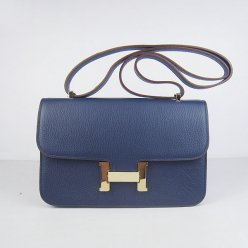 Hermes Handbags Constance Dark Blue Cowskin Leather Gold Hardware Bag