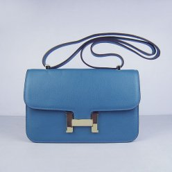 Hermes Handbags Constance Blue Cowskin Leather Gold Hardware Bag