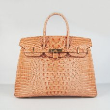 Hermes Handbags Birkin 35 CM Orange Crocodile Scalp Bag