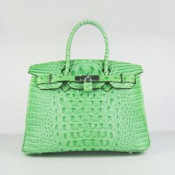 Hermes Handbags Birkin 30 CM Green Crocodile Scalp Bag