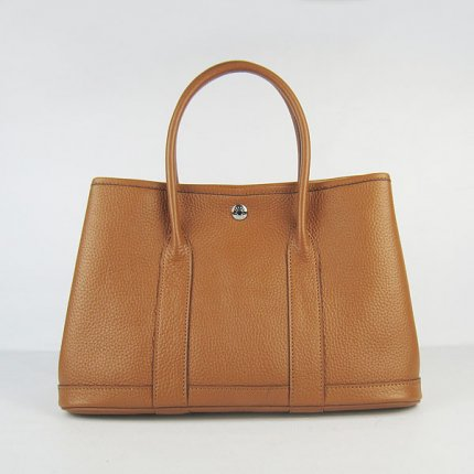 Hermes Handbags Garden Party Light Brown Cowskin Leather Silver Hardware Bag