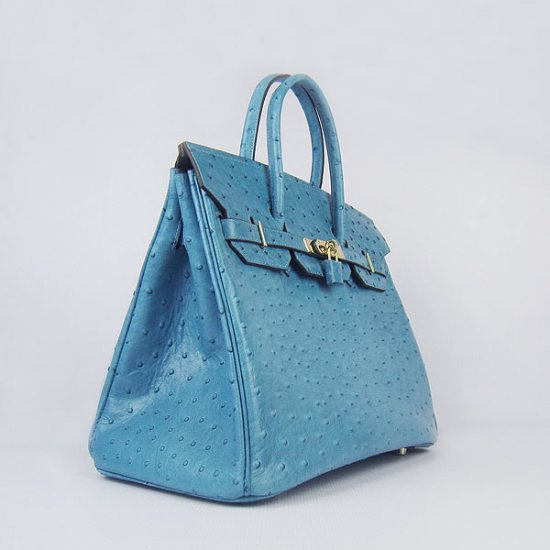 Hermes Handbags Birkin 35 CM Light Blue Ostrich Stripe Bag - Click Image to Close
