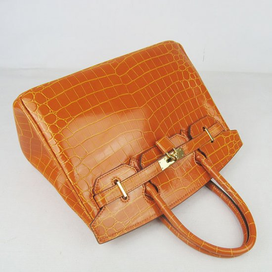 Hermes Handbags Birkin 30 CM Orange New Crocodile Veins Bag - Click Image to Close