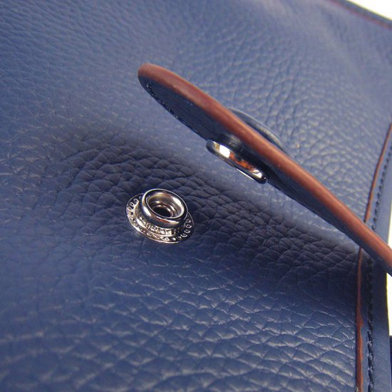 Hermes Handbags Evelyne III Dark Blue Cowskin Leather Silver Hardware Bag - Click Image to Close