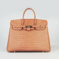 Hermes Handbags Birkin 35 CM Orange Crocodile Bag