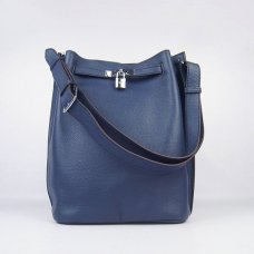 Hermes Handbags Picotin Herpicot Dark Blue Cowskin Leather Silver Hardware Bag