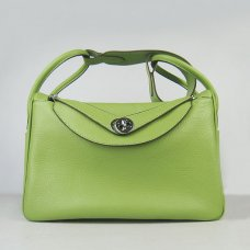 Hermes Handbags Lindy Green Cowskin Leather Silver Hardware Bag
