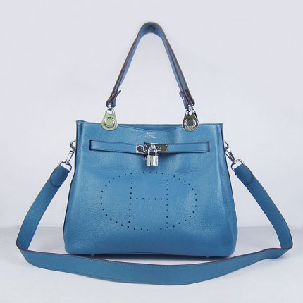 Hermes Handbags Picotin Herpicot Blue Cowskin Leather Silver Hardware Bag