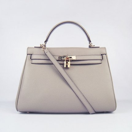Hermes Handbags Kelly 32 CM Grey Lichee Pattern Leather Gold Hardware Bag