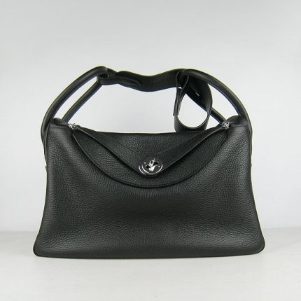 Hermes Handbags Lindy Black Cowskin Leather Silver Hardware Bag