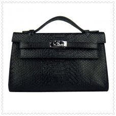 Hermes Handbags Kelly 22CM Black Faux Crocodile Leather Silver Hardware Bag