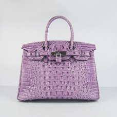 Hermes Handbags Birkin 30 CM Purple Crocodile Scalp Bag