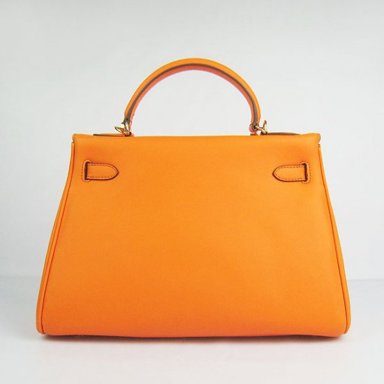 Hermes Handbags Kelly 32 CM Orange Smooth Premium Leather Gold Hardware Bag - Click Image to Close