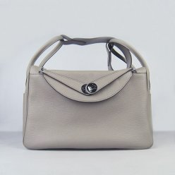 Hermes Handbags Lindy Grey Cowskin Leather Silver Hardware Bag