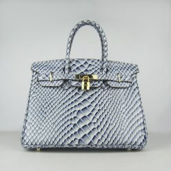 Hermes Handbags Birkin 30 CM Blue Fish Stripe Bag