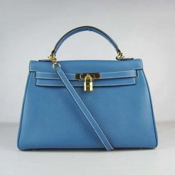 Hermes Handbags Kelly 32 CM Blue Lichee Pattern Leather Gold Hardware Bag (with white stitching)