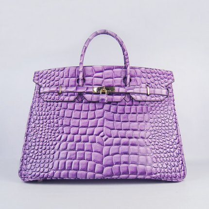 Hermes Handbags Birkin 40CM H6099 Purple Crocodile Stripe Leather Gold Hardware Bag