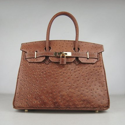 Hermes Handbags Birkin 30 CM Brown Ostrich Stripe Bag