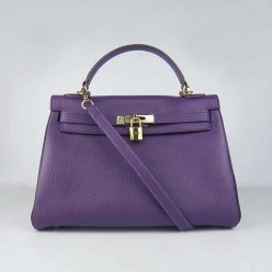 Hermes Handbags Kelly 32 CM Purple Lichee Pattern Leather Gold Hardware Bag